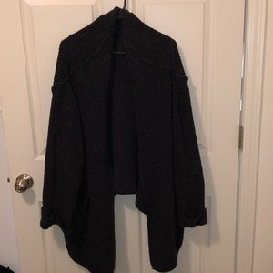 Free People Navy Blue Open Front Cardigan